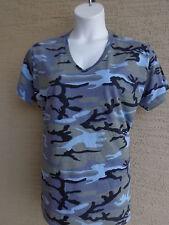 Women's Private Label Cotton S/S V Neck Blue Multi Colored Camo Tee Shirt S