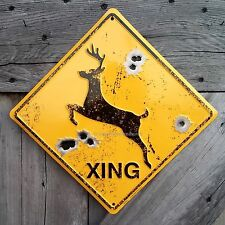 DEER BUCK CROSSING XING METAL EMBOSSED RUSTIC CABIN LODGE SIGN BULLET HOLES NEW