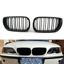 Gloss Black Double slat Front Kidney Grilles Grill For BMW E46 4D 02-05 03 CA00