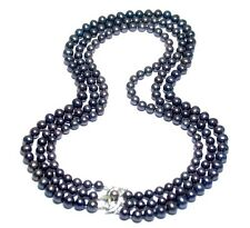 "GENUINE CULTURED BLACK PURPLE 6 - 7.5mm PEARLS TRIPLE STRAND 16.5 - 20"" NECKLACE"