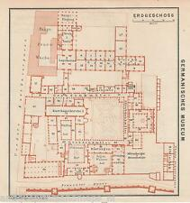Antique Print of Map 1929 Germany Plan Germanisches Museum