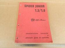 MANUALE ORIGINALE 1973 ALFA ROMEO GIULIA SPIDER 1.3 1.6 JUNIOR