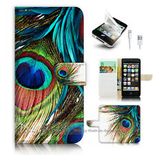 iPhone 5 5S Flip Wallet Case Cover P2314 Peacock Feather