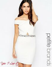 Lipstick Boutique Petite Bardot Party Dress With Embellished Waist in White UK12