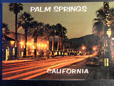Palm Springs Palm Canyon Drive at Night Time Lapse Photography Postcard 1950s