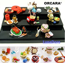 ORCARA Miniature Dollhouse Chinese Festival Snack Toy Figure Doll Gift Set of 8