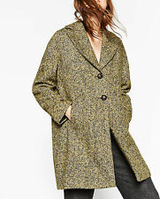 ZARA SIZE M L 38 40 42 WOLLE MANTEL WOLLMANTEL JACKE WOOL BOUCLÉ COAT JACKET