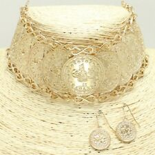 "10"" gold coin layered choker collar Necklace 1"" earrings 1.50"" wide"