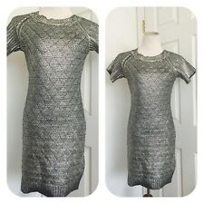 Romeo And Juliet Couture Metallic Silver And Black Sweater Dress   Size S  NWT