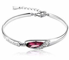 Fashion Women Silver Plated Crystal Chain Bangle Cuff Charm Bracelet Jewelry FJH