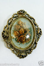 GOLD TONE METAL FRAME OVAL DRY REAL FLOWERS PIN BROOCH OR PENDANT