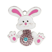 44x42mm Easter Rabbit Cartoon Rhinestone Pendant For DIY Chunky Necklace