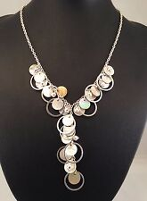 Handmade Mother of Pearl Disc Cut Shells & Ring Spacer Necklace Great Xmas Gift