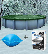 18' Round Above Ground Winter Pool Cover + 4'x4' Air Pillow + Winterizin​​g Kit