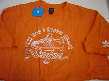 """NEW MENS ADIDAS ORANGE """"ALL DAY I DREAM ABOUT SNEAKERS """" S/S TSHIRT SIZE XL"""