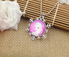 Hot FROZEN PENDANT Silver Plated CHAIN NECKLACE ROYAL PRINCESS  B5