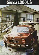 SIMCA - 1000 LS 4 sides brochure/prospekt/folder Dutch 1971