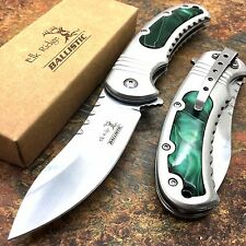 Elk Ridge Stainless Acrylic Insert Handle Camping Hunting Pocket Knife ER-A014GN