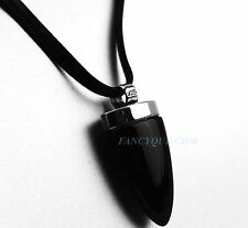 BACCARAT JEWELRY TRIBAL NECKLACE ONYX PENDANT STERLING SILVER LEATHER CORD NEW