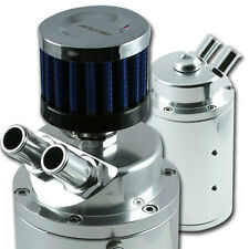ADD W1 UNIVERSAL OIL CATCH TANK CAN + Breather 9mm & 15mm fitting  Polish Silver