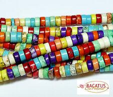 Magnesit Perlen kleine bunte Räder 3x6 mm 1 Strang BACATUS Edelstein #4164