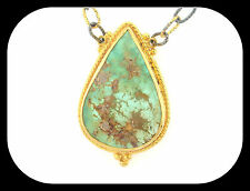 DESIGNER OOAK 50.21CT PERSIAN TURQUOISE 18K/925 STERLING SILVER PENDANT NECKLACE