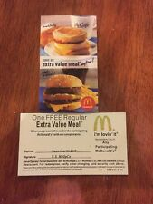 10 MCDONALDS EXTRA VALUE MEAL  Certificate