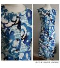 MOD vtg 1960s BLUE WHITE FLORAL BUTTON DOWN SCOOTER SHIFT DRESS 14