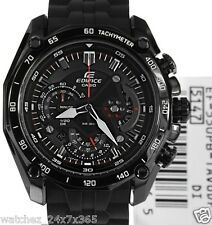 CASIO EDIFICE CHRONOGRAPH EF-550PB-1A BLACK ION PLATED CASE PU BAND SPLIT TIMER