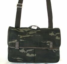 NEW FOSSIL MERCER GREEN+BROWN CAMO ARMY WORK BRIEFCASE,CROSS BODY+MESSENGER BAG