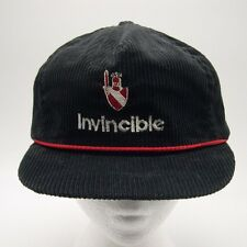 Invincible Black Corduroy Baseball cap hat Leather strapback