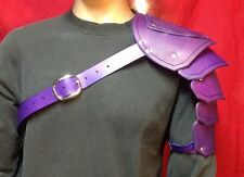 Leather Single Shoulder Armor Pauldron SCA Renn Faire Cosplay Steampunk Purple