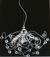 PLAFONIERA LAMPADARIO tipo swarovski sfere cristallo MINA 3 L CROMATA moderna