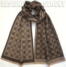 "GUCCI brown & beige Wool Jaquard GG CHECK muffler UNISEX 15x69"" Scarf NWT Authen"