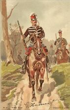 CARTE POSTALE FANTAISIE ARMEE BELGE CHASSEURS A CHEVAL ILLUSTRATEUR LOUIS GEENS
