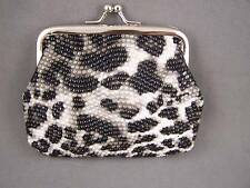 Black Grey faux leather snake skin coin change purse pouch kiss lock snap top