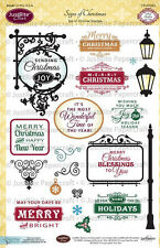 JUSTRITE CLEAR Rubber Stamps SIGNS OF CHRISTMAS CR-02062 Blessings Holidays