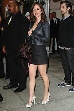ELIZA DUSHKU SEXY BLACK LEATHER OUTFIT HIGH HEELS 8X10