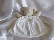 Doudou ours beige, tissu blanc, Tartine et Chocolat