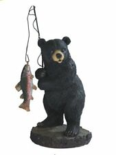 7 Inch Black Bear Fishing on Rock Statue Figurine Animal Wildlife Collectible