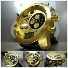 NEW Mens OVERSIZE SPORT MILITARY FASHION 3 Multi Time Zone Gold COOL WRIST WATCH