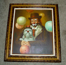 VINTAGE HOPPIN CLOWN AND DOG ON CANVAS OIL PAINTING FINEST EXAMPLE WITH/C.O.A.!