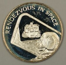 """Apollo Space Program Sterling Silver Medal """"Rendezvous in Space"""" .44 ozt of .925"""