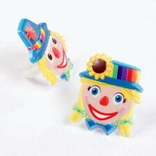 12 Clown Faces Party Cupcake Ring New Carnival Circus Favor