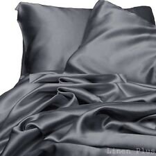 6-PC Charcoal Gray Satin Silky Sheet Set Queen Size Flat Fitted Pillows 500TC