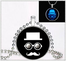 Punk Style Hat beard glasses Glow in the Dark Stainless Steel Necklace Pendant