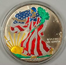 2000 American Silver Eagle (ASE) 999 fine Beautifully Colorized Coin on Obverse