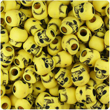 150 Bright Yellow Antique 11mm Halloween Skull Pony Beads Made in the USA