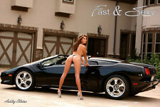 Ashley Slaton in thong with Exotic Car topless girl model fast & sexy poster