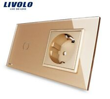1 Gang Touch Lichtschalter + Steckdose Livolo Gold Kristall Glas